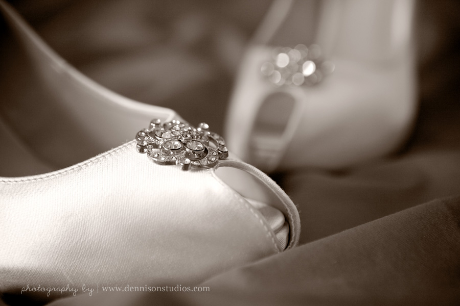White bridal shoes with jewelled detail